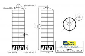 Bảng Vẽ Bồn Nước inox 4000 Lít Đứng Đại Thành