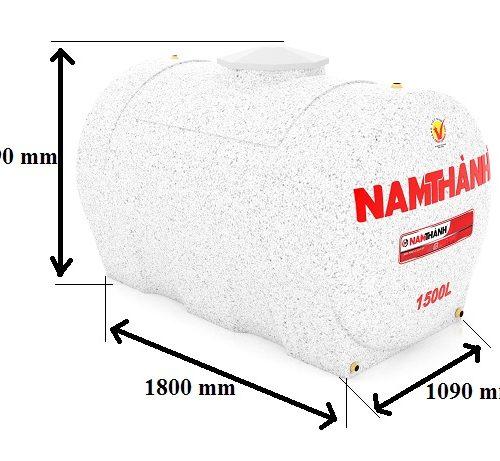 Bảng Vẽ Bồn Nước Nhựa Cao Cấp 1500 Lít Ngang Nam Thành