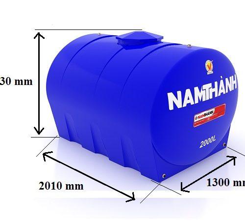 Bảng Vẽ Bồn Nước Nhựa Tiêu Chuẩn 2000 Lít Ngang Nam Thành