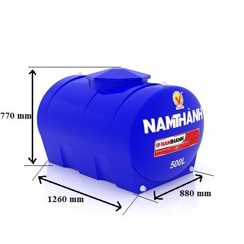Bảng Vẽ Bồn Nước Nhựa Tiêu Chuẩn 500 Lít Ngang Nam Thành
