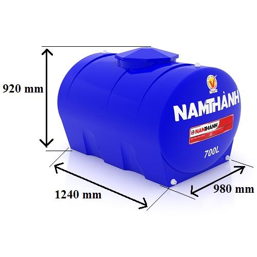 Bảng Vẽ Bồn Nước Nhựa Tiêu Chuẩn 700 Lít Ngang Nam Thành